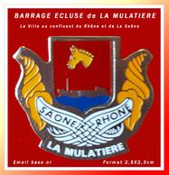 SUPER PIN'S VILLE LA MULATIERE : Au Confluent Du Rhône Et De La Saône, Barrage écluse En émail Base Or, Format 2,5X2,3cm - Cities