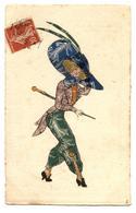 Mode1910.fashion.femme Au Grand Chapeau,décor Timbres Découpés Et Collés..                                          .E.5 - Femmes
