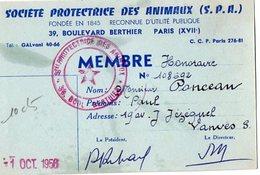 VP14.613 -  PARIS 1956 - Carte De La Société Protectrice Des Animaux ( S.P.A. ) Mr PONCEAU à VANVES - Vieux Papiers