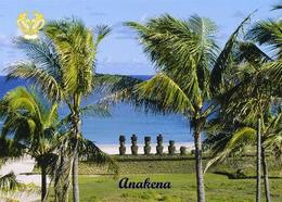 Easter Island Anakena Beach Rapa Nui UNESCO New Postcard Osterinsel AK - Rapa Nui