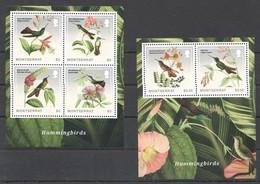 SS192 2014 MONTSERRAT HUMMINGBIRDS PLANTS FLORA 1BL+1KB MNH - Colibris