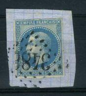 FRANCE ( POSTE )  :  Y&T  N°  14A  OU  14B , TIMBRE  BIEN  OBLITERE , SUR  FRAGUEMENT . - 1853-1860 Napoleon III