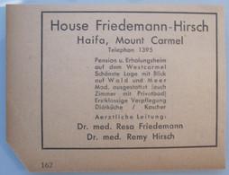 ISRAEL HOTEL MOTEL GUEST REST HOUSE FRIEDEMANN HIRSCH HAIFA PHOTO ADVERTISING LOGO DESIGN OLD NEWSPAPER - Manuscripts