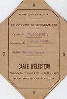 VP14.615 - FONTENAY - TRESIGNY 1937 / 38 - Carte D'Electeur De Mr Maurice - Auguste GAUTIER - Cartes