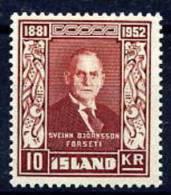 ICELAND 1952 Björnsson 10Kr.  MNH (**) - 1944-... Republik