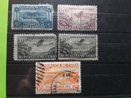 CUBA 1927 - 1936, AEREO Poste Aérienne / Airmail , 5 Timbres , Yvert No 1, 12, 13 (×2) ,18 , Obl TB - Luftpost