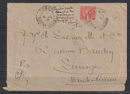 """YT 199f L 50c Rouge Pâle Semeuse Lignée Type III, 1/2 Timbre Sur Lettre Du 9.5.1931, Mention """"timbre Coupé Par La - 1903-60 Semeuse Lignée"""