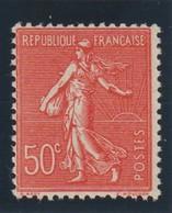 YT 199n ** 50c Rouge Semeuse Lignée, Faux De Marseille - 1903-60 Säerin, Untergrund Schraffiert