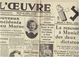 26 Septembre 1937 L OEUVRE - La Rencontre De Munich Hitler Mussolini  - L Affaire Skobline - Journaux - Quotidiens