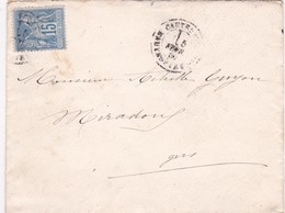 T.P Sage II N°90 Cauterêts>Miradoux 1880 - 1876-1898 Sage (Type II)