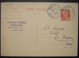 Buchy 1954 Seine Inférieure, Fernand Duboc Confections Carte Entier Postal Pour Singer Frères - Postmark Collection (Covers)