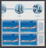 Switzerland 1972 Pro Aero 1v Bl Of 4 (corner) ** Mnh (42188A) - Luchtpostzegels