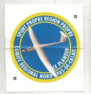 Autocollant , Grand Modéle , Sports ,avion ,aviation ,LE PLANEUR , Nord ,Pas De Calais , 200 X 175 .,frais Fr 2.25e - Autocollants