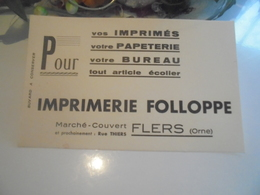 Buvard Imprimerie FOLLOPPE Flers  61 - Carte Assorbenti