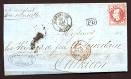 LET2- LETTRE ANCIENNE D'ALEXANDRIE-EMPIRE LAURÉ N°32 B + CAD ALEXANDRIE-EGYPTE 1869 POUR ALTRICH- 4 SCANS - Marcophilie (Lettres)