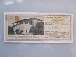 ISRAEL HOTEL MOTEL GUEST REST HOUSE MAJESTIC 1922 CARMEL HAIFA PHOTO ADVERTISING LOGO DESIGN OLD NEWSPAPER - Manuscripts