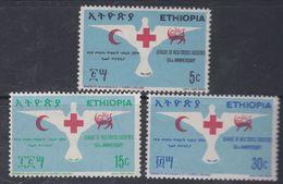 Ethiopie N° 532 / 34 X  Cinquantenaire De La Ligue Des Sociétés De Croix-Rouge, Les 3 Vals  Trace De Charnière Sinon TB - Ethiopie