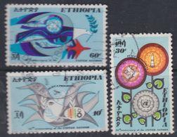 Ethiopie N° 546 / 48 O  Paix Et Progrès : 25n ème Ann. Des Nations Unies, Les 3 Valeurs Oblitérations Moyennes Sinon TB - Ethiopie
