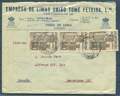 Portugal Viera De Leiria, Empresa De Limas Uniao Tome Feteira Illsutrated Advertising Cover - Barcelona. Censor - 1910-... Republic