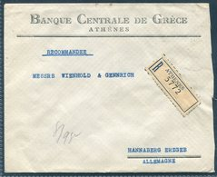 1929 Greece Registered Athens Bank Cover, Banque Centrale De Grece - Hannaberg Germany. - Greece