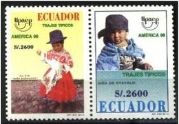 ECUADOR 1996 - TRAJES REGIONALES - AMERICA UPAEP - YVERT Nº 1373/1374** - Textile