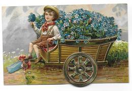 Carte à Système Gauffrée Herzlichen Glückwunsch Zum Geburtstag (Bon Anniversaire)(fleurs Myosotis Oiseau Enfant) - A Systèmes