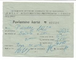 Bus Ticket Yugoslavia Macedonia Ohrid 1962 - Europe