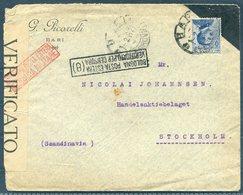 1917 Italy Picorelli Bari Censor Cover - Stockholm Sweden. Bologna Censura - 1900-44 Vittorio Emanuele III