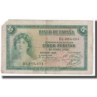 Billet, Espagne, 5 Pesetas, 1935, KM:85a, B - [ 2] 1931-1936 : Republiek