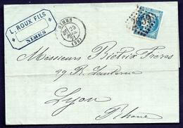 LET2- LETTRE DE NIMES POUR LYON- EMISSION DE BORDEAUX N°45 R.II + CAD DE NIMES. T.17 DE 1871- 4 SCANS - Postmark Collection (Covers)
