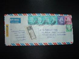 LR Pour FRANCE  TP 20.00 X4 + TP 10.00 + TP 4.00 + TP 2.00 OBL.6 3 2003 + AUTOCOLLANT LA POSTE (FRANCE) - Sri Lanka (Ceylan) (1948-...)