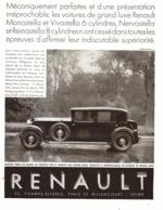 """PUB RENAULT  """"  MONASTELLA-VIVASTELLA  """"    1930 ( 10) - Voitures"""