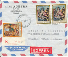 Burundi Registered Express Air Mail Cover Sent To Germany 27-2-1969 With Bahnpost Cancel On Backside Of The Cover - Burundi