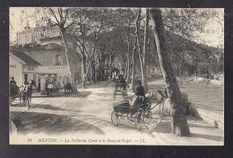 CPA 06 - MENTON - La Vallée Du Careï Et La Route De Sospel - Très Jolie ANIMATION CENTRE VILLE ATTELAGE BAR COIFFEUR - Menton