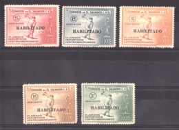 """Salvador - 1935 - N° 496 à 500 - Neufs * - TP 3ème Jeux Sportifs D'Amérique Centrale Surchargés """"Habilitado"""" - Cote + 85 - El Salvador"""