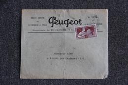 Timbre Seul Sur Lettre Publicitaire PEUGEOT, De TOULOUSE  ( N°212) - France