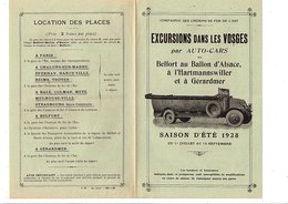ETE 1928 ENCART PUBLICITAIRE EXCURSIONS DANS LES VOSGES EN AUTOCAR - Publicités