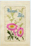 Carte Brodée - Bonne Fête - Fleurs - - Brodées