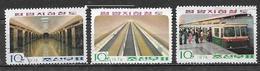COREA DEL NORD 1974 STAZIONE DELLA METRO' YVERT. 1207-1209 USATA VF - Corea Del Nord