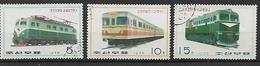 COREA DEL NORD 1976 LOCOMOTIVE YVERT. 1390-1392 USATA VF - Corea Del Nord