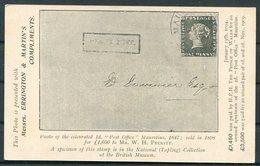 Guatemala Stationery Postcard, Advertising Overprint For Errington & Martin, Stamp Dealers, Hackney London. Mauritius - Guatemala