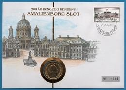NUMISBRIEF DANMARK 20 KRONER 1993 AMALIENBORG SLOT KONGELIG RESIDENS  NUMIS COVER - Danemark