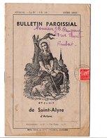 BULLETIN PAROISSIAL DE SAINT-ALYRE D'ARLANC PUY DE DOME - AVRIL 1943 - Livres, BD, Revues