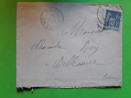 Lettre Locale De Famille LA MONTAGNARIE , Cachet DOURGNE, Tarn,SAGE No 101 Texte Invitation .MARIAGE,5 Octobre 1890 > Be - 1877-1920: Semi Modern Period