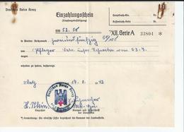 Deutsches Rotes Kreuz Einzahlungsschein 1942 Croix Rouge Allemande Bullettin De Versement Occupation Allemande Moselle - 1900 – 1949