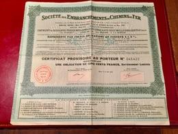 Sté  Des  Embranchements  De  Chemins  De  Fer -----Certificat  D' Une  Obligation  De  500 Frs - Russie
