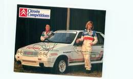 Rallye - Citroen - Ecurie 1985 Pilote Sylvie Seignobeaux - Autographe    AM 649 - Rally Racing
