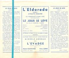 Ciné  Bioscoop Programma Cinema Eldorado Bruxelles - Le Jour Se Leve - Jean Gabin - Publicité Cinématographique