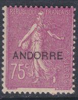 """Andorre N° 17 X Timbres De France Surchargés """"Andorre"""", Partie De Série : 75 C. Lilas-rose Trace Charnière Sinon  TB - Neufs"""