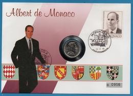 NUMISBRIEF MONACO 1 FRANC 1982 ALBERT NUMIS COVER - Monaco
